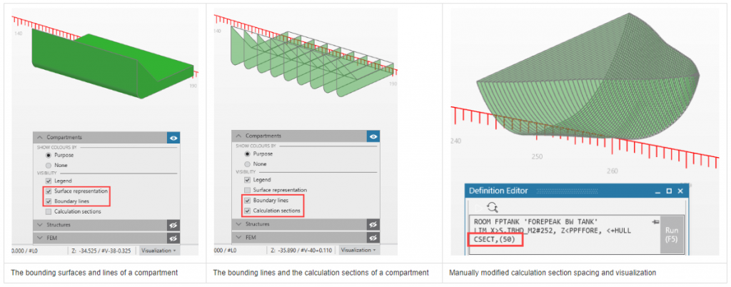 Compartment visualization in NAPA Designer
