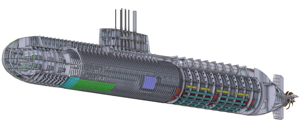 A submarine model designed with NAPA