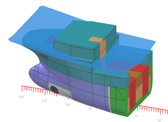 Visualization of external watertight limits in NAPA Designer