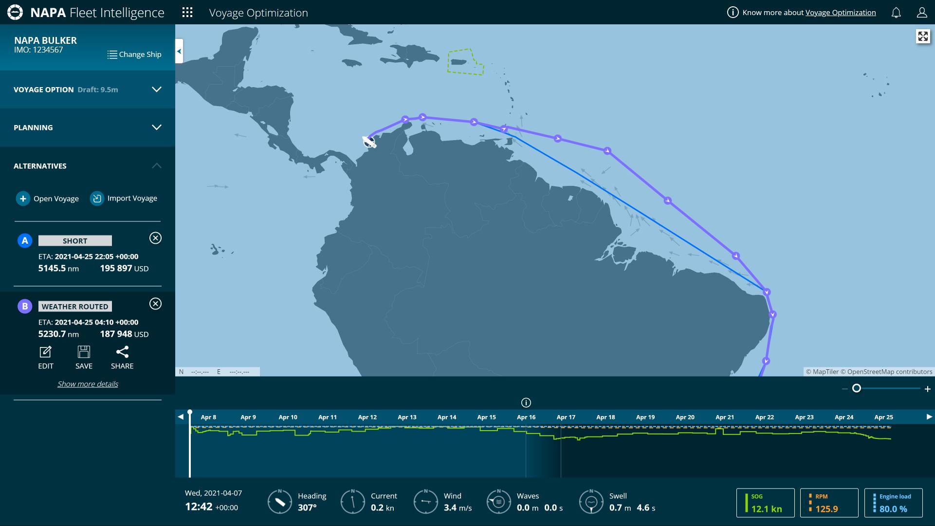 NAPA Voyage Optimization North of Brazil