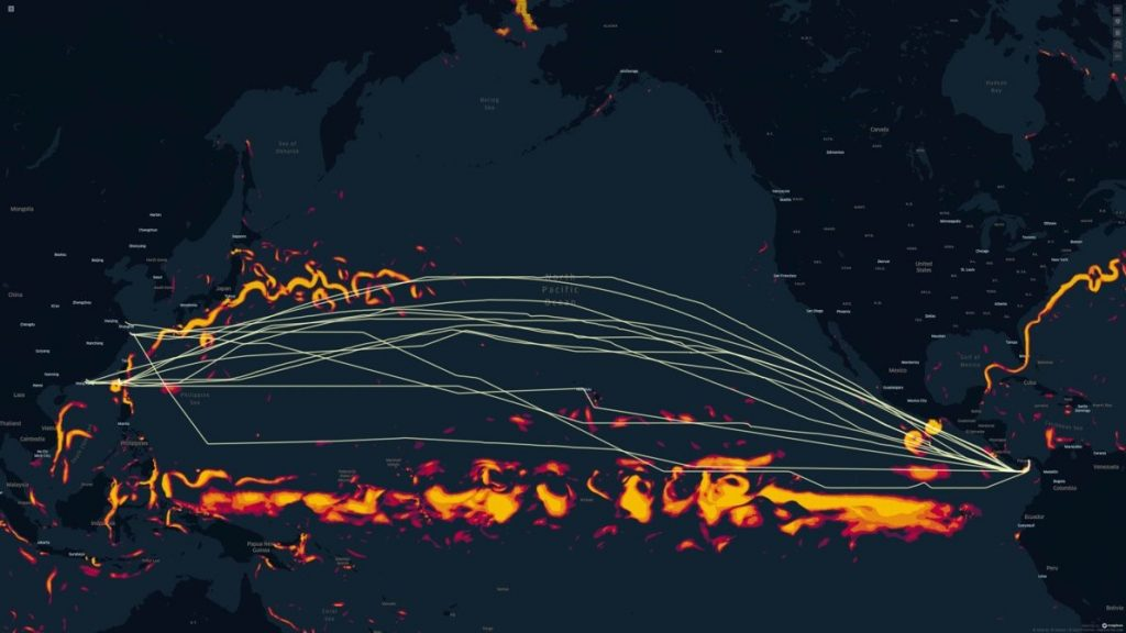 Easbound Pacific routes as sailed