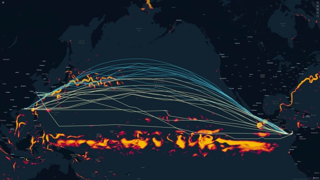 Actual vs. optimized routes on a Pacific crossing eastbound