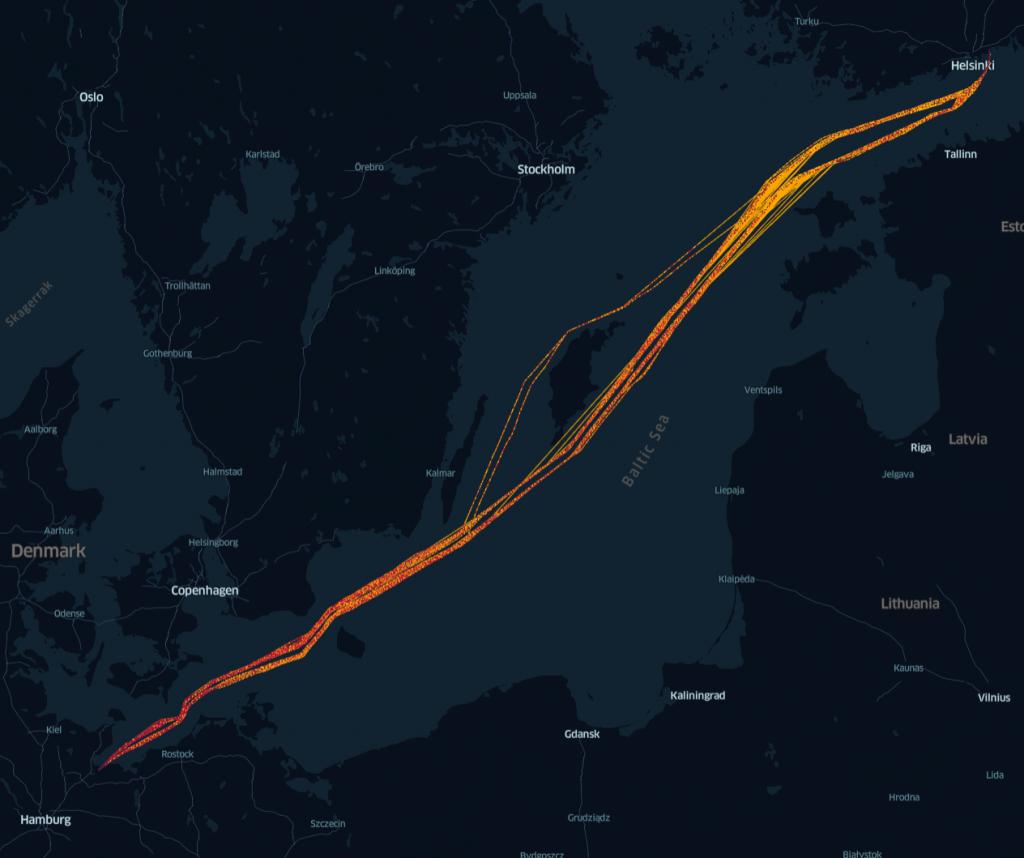 Ferry traffic at Baltic Sea