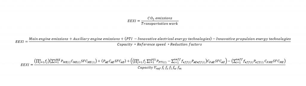 EEXI formula, CO2 emissions per transport work